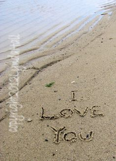 Romantic I Love You  Photo words written in the by myBeachWishes, $28.00