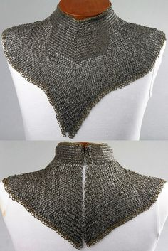 European riveted mail collar / standard, late 15th century, iron or steel and copper alloy, length: 73.7 cm, weight: 0.85 kg, The Wallace Collection (A9). The collar is a virtuoso demonstration of mail-making skill, very small, heavy links so tightly woven that almost no light can pass between them. The gaps between the links are also so narrow that the links themselves cannot rotate, but are held fast by their neighbours.