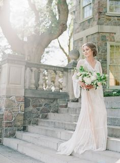 """It really doesn't get much more romantic than this! Inspired by the beautiful historic GRAYDON HALL in Toronto, VASIA PHOTO + ARTIESE STUDIOS took advantage of the gorgeous English style gardens and the stonework of the buildings for this shoot. """"We wan"""