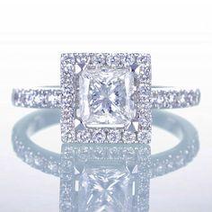 14K White Gold Princess Cut Diamond Engagement Ring by SAMnSUE, $7,800.00