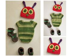 Very Hungry Caterpillar Handmade crochet outfit: onesie, hat, booties & mitts #OhSewKnotty #CompleteOutfit