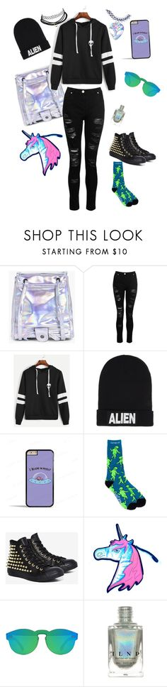 """Aliens and holo"" by cheesepinwheel ❤ liked on Polyvore featuring Boohoo, Dorothy Perkins, Nicopanda, Samsung, RIPNDIP, Converse and RetroSuperFuture"