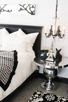 Decorating Old Hollywood Style | houndstooth throw, damask rug, and fresh white linens warm up ...