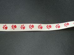 ruban gros grain empreintes de pattes rouges, fond beige : Rubans par les-petites-serviettes-de-cathy
