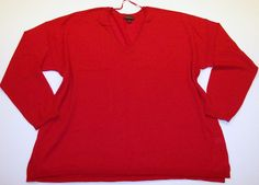 Lane Bryant 26/28 Thin Christmas Red V-Neck Sweater Soft Merino Wool Plus Size #LaneBryant #Sweater