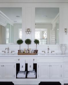 "A ""Wow"" master Bathroom Cabinet Design. This double vanity includes both concealed and display storage spaces. Its mirrors reflect the view at the bay window behind. Luxury Interior Design, Home Interior, Home Design, Design Ideas, Design Design, Bad Inspiration, Bathroom Inspiration, Dream Bathrooms, Beautiful Bathrooms"