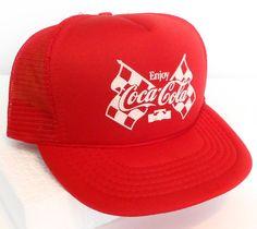vtg rare COCA-COLA INDY RACING TRUCKER HAT Red Advertising Coke Snapback 500 #AmaPro