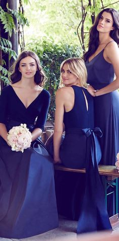 Blue mismatched bridesmaids dresses