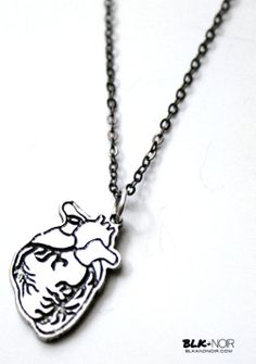 BLK AND NOIR JEWELRY - Silver Anatomical Human Heart Necklace, $22.00 (http://www.blkandnoir.com/silver-anatomical-human-heart-necklace/)