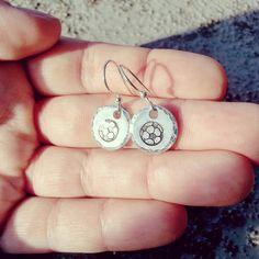 New to jennascifres on Etsy: Soccer Earrings - Soccer Fans Gift - Soccer Ball Jewelry - Small Silver Disc Dangle Earrings - Tiny Drop Circle Earrings - Free Gift Box (12.00 USD)