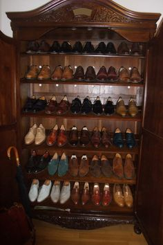 The shoe collection of a gentleman.