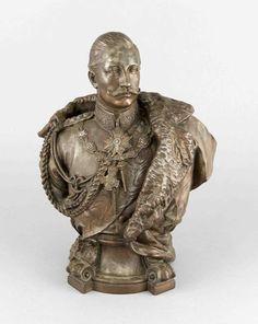 Gerhard Janensch (1860-1933), nach, repräsentative Büste von Wilhelm II. inGeneral-Uniform, brüni — Skulpturen, Plastiken, Installationen, Bronzen, Relief