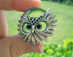 """Pair of Antique Silver Owl Tunnels - Girly Gauges - Feminine Plugs - 7/8"""", 1"""" by WhimsyByKrista on Etsy"""