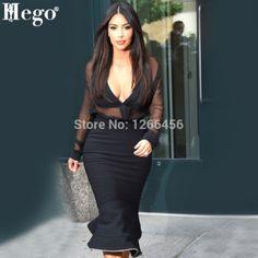 HEGO 2015 Hot Kim Kardashian Summer Dress Black Mesh Mermaid Celebrity Rayon Two Pieces Bandage Dresses   H1114
