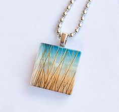 Beach photography glass tile pendant necklace by mylittlepixels