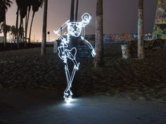 Breaking Bones, animated light paintings of a break dancing skeleton by Scott Beale