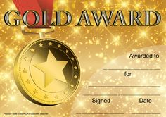 Reward progress and achievement with this 30 pack of colourful A5 Gold Award certificates printed on 250gsm silk finish cad and ready to personalise.