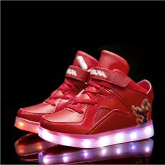 Red Kids Cartoon Luminous Shoes