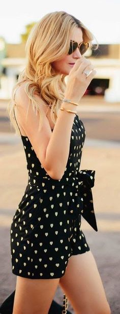 Chic in the city ~ heart dots romper and heart-shaped sunglasses