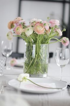 Consider larger vase (still a clear and elegant vase) with flowers for sweetheart table. We're looking to create an elegant and clean look like the look of this table. Bridal Luncheon, Wedding Decorations, Table Decorations, Sweetheart Table, Pretty In Pink, Wedding Inspiration, Wedding Ideas, Planting Flowers, Floral Arrangements