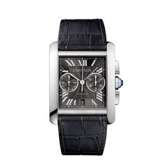 Tank MC watch - Large model, Steel, Steel - Fine Watches for men - Cartier