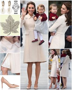 Final Royal Tour Outfit Breakdown: While bidding Canada farewell, the Duchess of Cambridge wore a beautiful new Catherine Walker coat with an unknown white pleated dress/skirt underneath. She brought back the Queen's maple leaf brooch as her final little nod to the host country. The brooch has been worn three times throughout this tour. She had on her Annoushka pearl drop and Kiki McDonough hoop earrings still from this morning as well as her Cartier watch. Her LK Bennett 'Floret' heels…