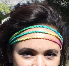 Rainbow crotchet headband with a bow by UniquePhillyGifts4U, $5.00
