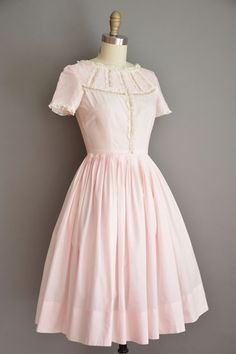 Vintage 1950s dress, soft blush pink cotton with the sweetest details around the neckline, ruffle lace trimming, lovely floral embroidery, bust