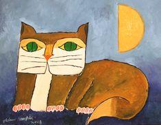 """Aldemir Martins (Brazilian, 1922 - 2006) - """"Gato marrom a meia lua"""", 2003"""