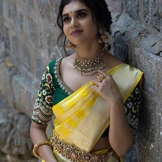 Planning to shop silk half sarees? Here are 20 colorful half saree designs and how to style it with utmost elegance. Wedding Saree Blouse Designs, Half Saree Designs, Silk Saree Blouse Designs, Saree Blouse Patterns, Bridal Sarees South Indian, Indian Bridal Fashion, Indian Fashion Dresses, Stylish Sarees, Saree Look