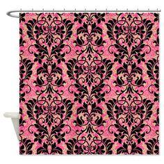Pink and Black Damask Shower Curtain on CafePress.com