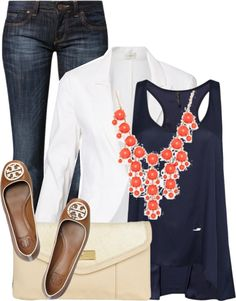 White blazer black tank skinnies coral bubble necklace taupe flats with black trim