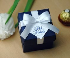 Navy Blue Wedding Bonbonniere - Wedding favor boxes with satin ribbon bow and custom tag - Personalized wedding favor candy box with your names  Stylish Wedding Favor Boxes with Personalized tag make great packaging for your favors and a unique way to thank guests for attending your bridal shower or