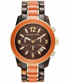MICHAEL KORS Chronograph Two Tone Tortoise Bracelet  Τιμή: 327€  http://www.oroloi.gr/product_info.php?products_id=32788