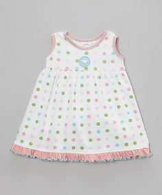 Look what I found on #zulily! White & Pink Polka Dot Ruffle Dress - Infant & Toddler by Cloud Mine #zulilyfinds