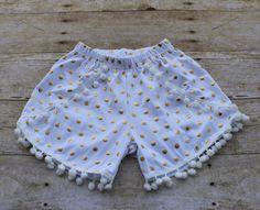 Girls Gold White Polkadot Pom Pom Shorts by AKidsDreamBoutique