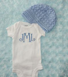 Baby Boy Monogram Bodysuit and Newsboy Hat. by BabySpeakBoutique, $22.95