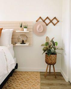 DIY Headboards | Apartment Therapy Ikea Headboard, Painted Headboard, Headboard With Shelves, Diy Headboards, Plywood Headboard Diy, Wood Bedroom, Bedroom Decor, Bedroom Artwork, Bedroom Ideas