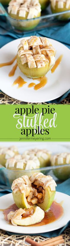 Apple Pie Stuffed Apples - JenniferMeyering.com #SendHallmark #ad **omit sugar for stevia or xylitol and make Gf crust instead of store bough