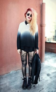 ombre sweater, button up, printed leggings, combat boots