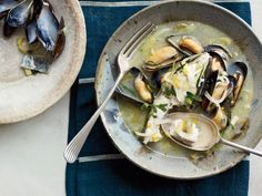 Based on the fisherman& stew he had in Greece, Andrew Zimmern simmers halibut in a lemony wine broth until tender and flaky then adds briny, succulent mussels. Greek Recipes, Fish Recipes, Seafood Recipes, Soup Recipes, Cooking Recipes, Healthy Recipes, Greek Meals, Chili Recipes, Clean Recipes
