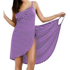 Gamiss 2017 Sexy Backless Women Summer Striped Dress V-neck Spaghetti Strap Women Knee-length Cover ups Beach Dresses vestidos