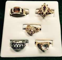18K Goldplated Vintage Size 7 Rings CZ American Ring Co Lot Of 5,#133 #AmericanRingCo
