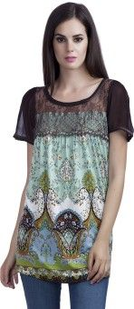 MansiCollections Casual Short Sleeve Printed Women's Multicolor Top
