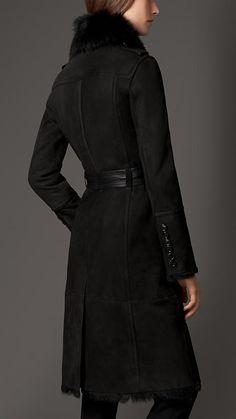 Noir Manteau en shearling à col inversé - Image 2
