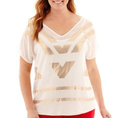 Worthington® Short-Sleeve Sequin Chiffon Top - Plus  found at @JCPenney