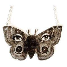 Surreal Butterfly Moth Necklace Fornasetti Black and White Eyes Avant... ($26) ❤ liked on Polyvore featuring jewelry, necklaces, smykker, butterfly pendant, beach necklace, chain necklaces, pendant chain necklace and wrap necklace