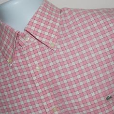 """LACOSTE Mens Pink Gingham Check Button Down Shirt Size 44 US XL #Lacoste #ButtonDown SOLD """"Beautiful! Thank you for such great service. Fast shipping!"""""""