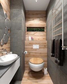 Rustic Modern Bathroom Design Ideas: 2 Bright Homes With Energetic Yellow Accents Rustic Bathroom Designs, Rustic Bathroom Decor, Wooden Bathroom, Rustic Bathrooms, Modern Bathroom Design, Bathroom Interior Design, Small Bathroom, Bathroom Ideas, Bathroom Mirrors