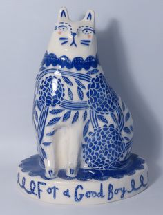 """""""Chrysanthemum Cat"""" by Vicky Lindo - Scrafitto decorated slipcast earthernware"""